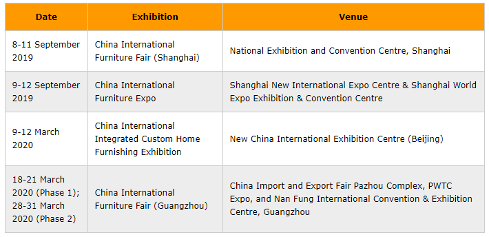 china furniture exhibitions