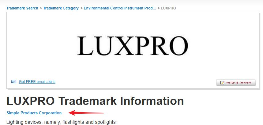 LUXPRO trademark